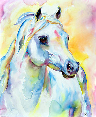 Painting - white Arabian Horse by Christy  Freeman