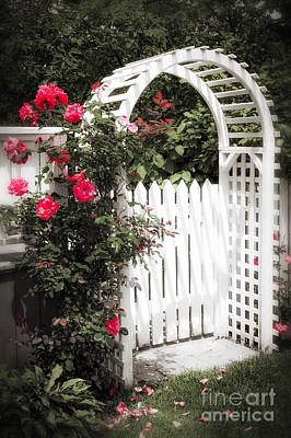 White Arbor With Red Roses Art Print