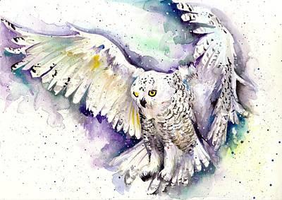 Snowy Night Painting - White Arctic Polar Owl - Wizard Dynamic White Owl by Tiberiu Soos