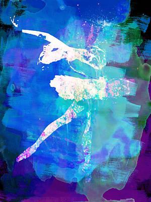 Ballet Dancers Mixed Media - White Ballerina Watercolor by Naxart Studio