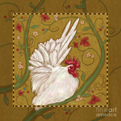 Rural Scenes Mixed Media - White Bantam Rooster by Shari Warren