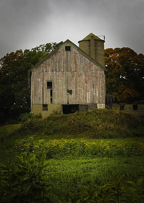 Photograph - White Barn - Rainy Day by Kathleen Scanlan