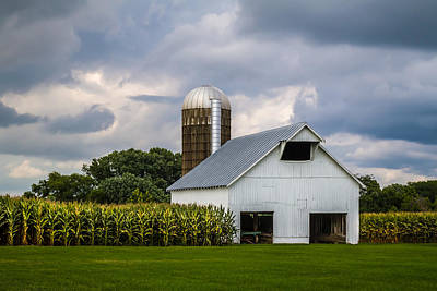 White Barn And Silo With Storm Clouds Art Print
