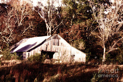 Photograph - White Barn In Autumn by Lesa Fine
