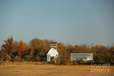White Barn In Fall Original