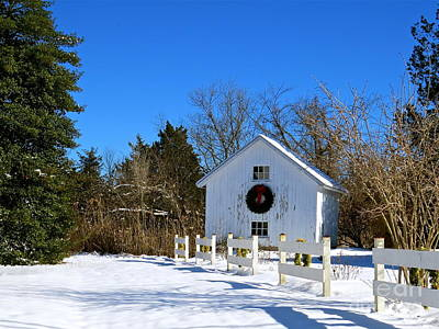 Photograph - White Barn In The Snow  by Nancy Patterson