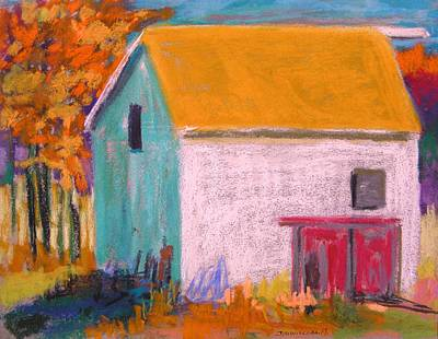 Art Print featuring the painting White Barn by John Williams