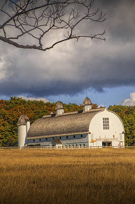 White Barn Of The D.h. Day Farm Art Print by Randall Nyhof