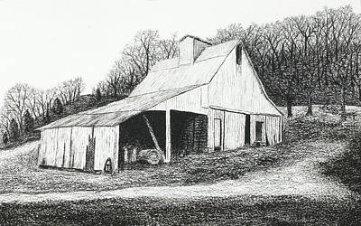 Drawing - White Barn On Bluff Road by Garry McMichael