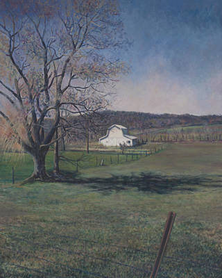 Painting - White Barn On Rte.119 In New Alexandria Pa by David P Zippi
