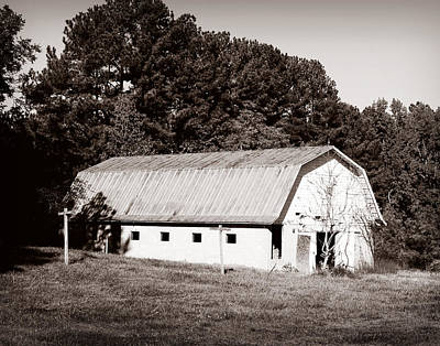 Photograph - White Barn by Val Stone Creager