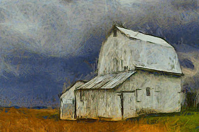 Laura James Photograph - White Barn With A Bright Blue Sky by Laura James