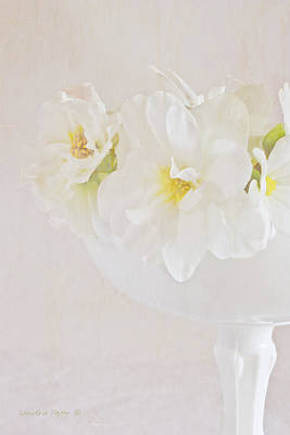 White Begonias In Pedestal Bowl Art Print by Sandra Foster
