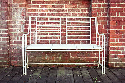 White Bench Art Print by Tom Gowanlock