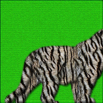 Digital Art - White Bengal Tiger Furry Bottom On Green by Serge Averbukh