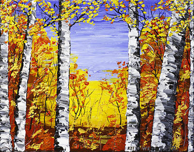 Pallete Knife Painting - White Birch Tree Abstract Painting In Fall by Keith Webber Jr