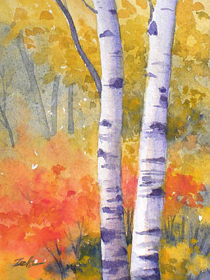Painting - White Birches In Autumn by Janet Zeh
