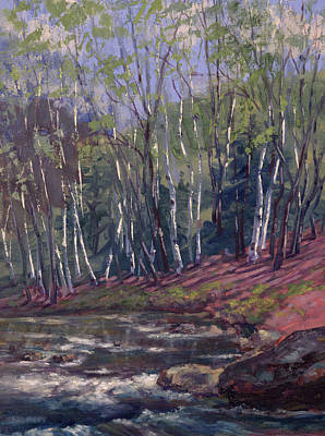 Painting - White Birches On Otter Brook by Ken Fiery