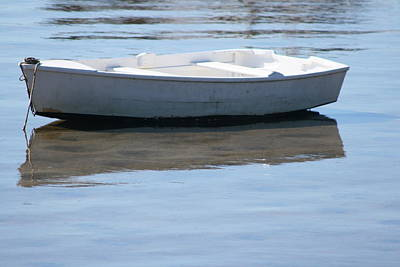 Photograph - White Boat And Shadow by Phoenix De Vries