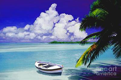 Painting - White Boat On A Tropical Island by David  Van Hulst