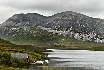 Photograph - White Boats At Peace On Loch Stack At Ben Arkle In West Sutherland Scotland by Sally Ross
