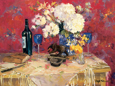 Glass Of Wine Painting - White Bouquet by Allayn Stevens