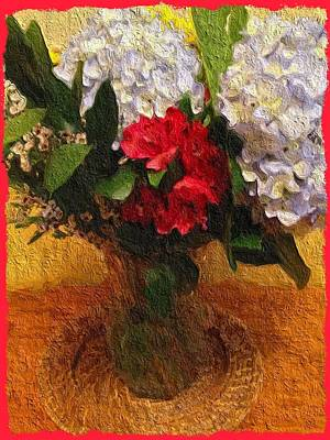 Animal Surreal - White Bouquet with a Touch of Red by Linda Cousins-Newton