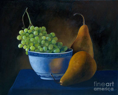 White Bowl With Grapes Art Print by Stephanie Allison