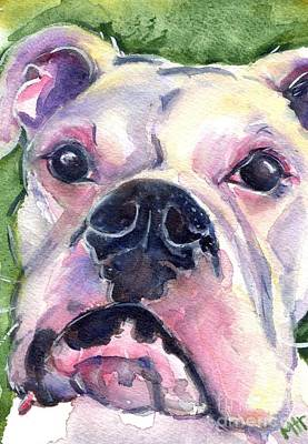 White Boxer Art Print by Maria's Watercolor