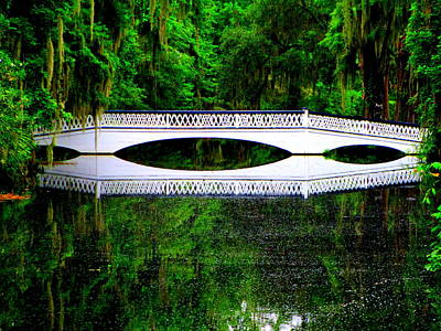 Photograph - White Bridge Mirrored by Randall Weidner