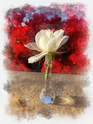 White Bud And Vase Art Print by Rick Lloyd