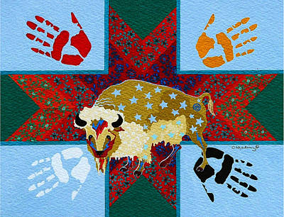 Painting - White Buffalo Calf Legend by Chholing Taha