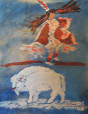 Painting - White Buffalo Dance 1 by Richard W Linford