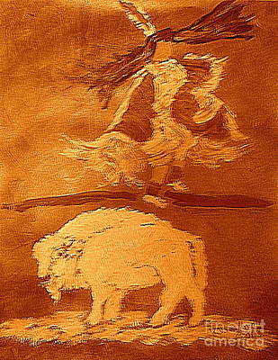 Painting - White Buffalo Dance 2 by Richard W Linford
