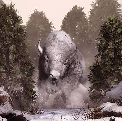 Digital Art - White Buffalo by Daniel Eskridge