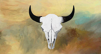 Painting - White Buffalo Skull by GCannon