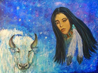 White Buffalo Woman Ptewan Wi Art Print by The Art With A Heart By Charlotte Phillips