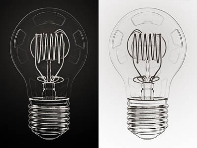 Office Digital Art - White Bulb Black Bulb by Scott Norris