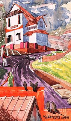 A Sunny Morning Painting - White Bunglow In A Town by Makarand Joshi