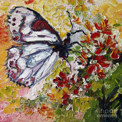 White Butterfly Impressionist Oil Painting Art Print