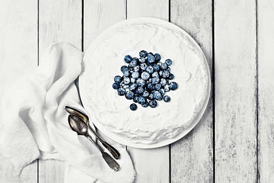 White Cake With Blueberries Art Print by Claudia Totir