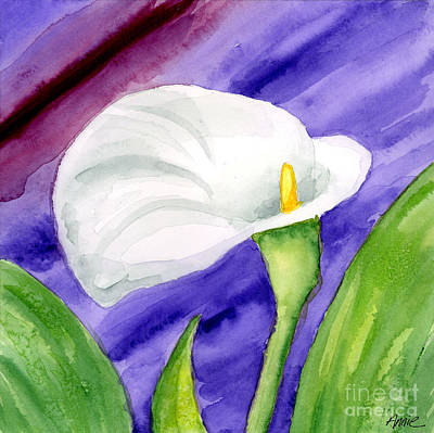 White Calla Lily Purple Mood Art Print by Annie Troe