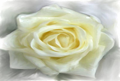 Mixed Media - White Canvas Rose by Dennis Buckman