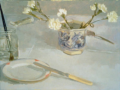 Water Jars Photograph - White Carnations In January Oil On Canvas by Sarah Butterfield