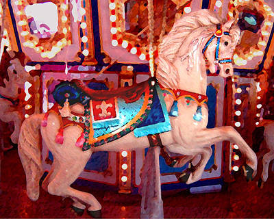 White Carousel Horse Art Print by Amy Vangsgard