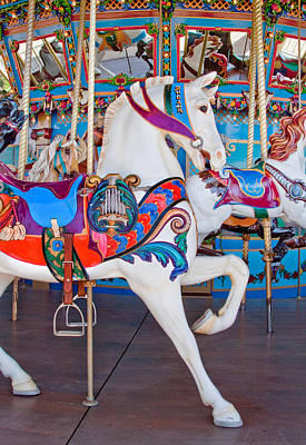 Photograph - White Carousel Horse by David and Carol Kelly