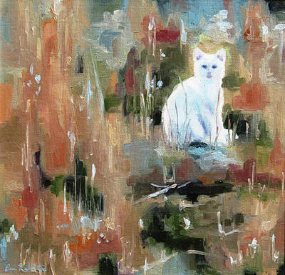 Painting - White Cat In Waiting by Erin Rickelton