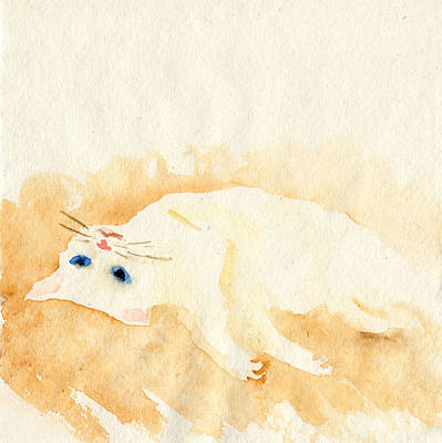 Painting - White Cat Lying On The Floor by Yumi Kudo