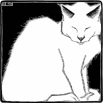 Escher Painting - White Cat  by MotionAge Designs