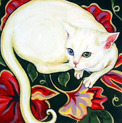 Painting - White Cat On A Cushion by Rebecca Korpita